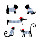 Francuzów stylowi zwierzęta ustawiający Ślicznej kreskówki parisian jamnik, kot i szkocka teriera wektoru ilustracja, Zdjęcia Royalty Free