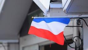 Francuz flaga pod dachem uliczna piekarnia