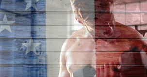 Francuz flaga z gwiazdami pokazuje atrakcyjny bez koszuli mężczyzny opracowywać zbiory wideo