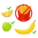 Francuz smaży banana, jabłko, pomarańcze Zdrowy jedzenie i fast food, wektorowej informaci grafika Obraz Stock