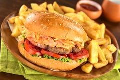 francuz smaży hamburger Obrazy Stock