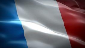 Francuza chorągwiany falowanie w wiatrowym materiale filmowym Folował HD Realistyczny francuz flagi tło Francja Zaznacza loopingu royalty ilustracja