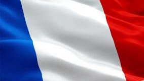 Francuza chorągwiany zbliżenie 1080p Folował HD 1920X1080 materiału filmowego wideo falowanie w wiatrze Krajowy 3d francuza flagi royalty ilustracja