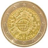 Francuza 2 euro moneta. Obrazy Stock