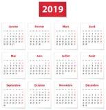 2019 francuza kalendarz na białych księgach ilustracja wektor