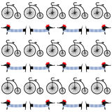 Francuza stylu pies z retro rowerowym bezszwowym wzorem Ślicznej kreskówki parisian jamnik z rocznika transportu wektoru ilustrac Obraz Royalty Free