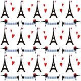 Francuza stylu psy z wycieczki turysycznej Eiffel bezszwowym wzorem Ślicznej kreskówki parisian jamnik z Paryską symbol ilustracj Obraz Royalty Free