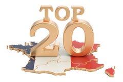Francuza wierzchołka 20 pojęcie, 3D rendering Obraz Stock