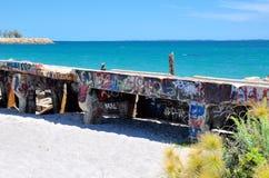 Frangiflutti dell'oceano con l'etichettatura: Fremantle, Australia occidentale fotografia stock libera da diritti