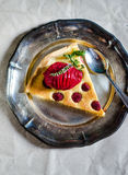 Frangipane cake on metallic plate Stock Photos