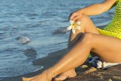 Frangipane dei fiori bianchi in mani delle donne contro la spiaggia ed il cielo blu del mare Plumeria tropicale del fiore sulla s immagine stock libera da diritti