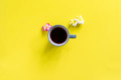 Frangipane rosa bianco sparso bevanda della tazza Immagine Stock Libera da Diritti