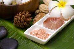 Frangipani blanc avec le cristal de savon de sel Photographie stock libre de droits