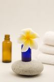 Frangipani flower, bottles and towels Stock Images