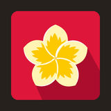 Frangipani flower icon in flat style Stock Images