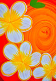 Frangipani flowers paint Stock Image