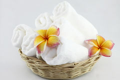 Frangipani flowers and Towel Stock Photography