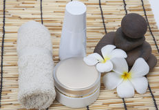 Frangipani spa set and polished stone copy space for Text Royalty Free Stock Image