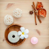 Frangipani tropical flowers with herbal spa products . Plumeria Royalty Free Stock Photos
