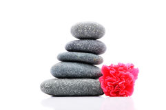 Frangipani And Zen Stone. Zen And Spa Stones With Hibiscus Flower Over White Background Stock Images
