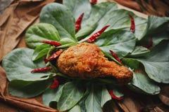 Frango frito colocado em couves chinesas Fotografia de Stock