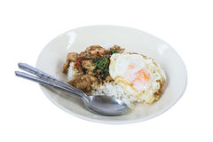 Frango frito da agitação com manjericão e arroz santamente Fotografia de Stock Royalty Free