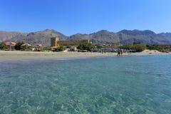 Frangocastello castle sea and tourists Stock Photo
