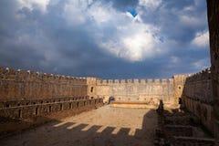 Frangokastello castle inner court, Frangokastello,  Chania, Cret. FRANGOKASTELLO, GREECE - JUN 9, 2015: Inner court of well preserved venetian fortress Stock Photo