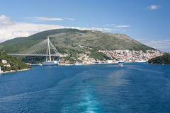 Franjo Tudman Bridge and the view on Dubrovnik from the sea Royalty Free Stock Photography