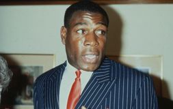 Frank Bruno. British heavyweight boxer, attends a celebrity event in London on May 27, 1989. In 1995 he won the WBC world heavyweight title Royalty Free Stock Photography