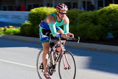 Frank Finney in the Coeur d' Alene Ironman cycling event Stock Photography