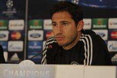 Frank Lampard av Chelsea - presskonferens Arkivfoton