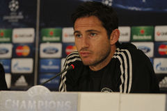 Frank Lampard of Chelsea - Press Conference. Frank Lampard, player of Chelsea London pictured during press conference held before the Champions League game Stock Photos