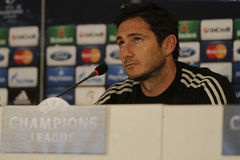 Frank Lampard of Chelsea - Press Conference. Frank Lampard, player of Chelsea London pictured during press conference held before the Champions League game Stock Photo