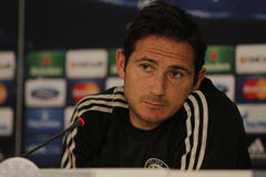 Frank Lampard of Chelsea - Press Conference. Frank Lampard, player of Chelsea London pictured during press conference held before the Champions League game Royalty Free Stock Photos
