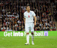 Frank Lampard on the pitch. England National football team player Frank Lampard on the pitch. 2010 FIFA World Cup Qualifiers match Royalty Free Stock Photography