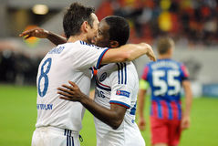 Frank Lampard and Samuel Eto'o of Chelsea goal celebration. Chelsea's Frank Lampard and Samuel Eto'o celebrate a goal scored during the UEFA Champions League Royalty Free Stock Image