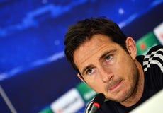 Frank Lampard tijdens de Ligapersconferentie van UEFA Cheampions Royalty-vrije Stock Foto's