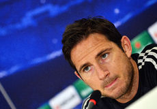 Frank Lampard during UEFA Cheampions League press conference. Chelsea'sfootball star Frank Lampard pictured during the official press conference held with the Royalty Free Stock Photos