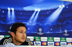 Frank Lampard during UEFA Cheampions League press conference. Chelsea'sfootball star Frank Lampard pictured during the official press conference held with the Royalty Free Stock Photography