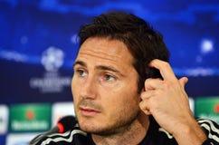 Frank Lampard under ligapresskonferens för UEFA Cheampions Arkivfoto