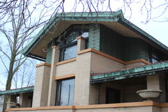 Frank Lloyd Wright`s Dana Thomas House, Springfield, IL. Frank Lloyd Wright`s Dana Thomas House in Springfield, Illinois displays the distinctive Prairie Style Royalty Free Stock Photos
