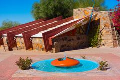 Frank Lloyd Wright - Taliesin West/Studio. Taliesin West was architect Frank Lloyd Wright`s winter home and school in the desert from 1937 until his death in stock image
