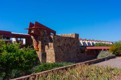 Frank Lloyd Wright - Taliesin West/Studio. Taliesin West was architect Frank Lloyd Wright`s winter home and school in the desert from 1937 until his death in stock photography