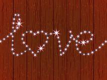 Frank message about the love of garlands. With glowing lights, wooden wall. Romantic atmosphere. Vector illustration Royalty Free Stock Photography