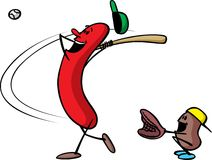 Frank n Bean play Baseball. Frank and his side kick Bean play baseball. Great cartoon for company, or group, picnic announcements Stock Image