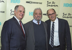 Frank Rich, Stephen Sondheim, and James Lapine Stock Photo