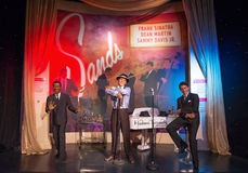 Frank Sinatra. Dean Martin, Sammy Davis Wax Figure at the Madam Tousseaud Celebrity Encounter at the Venetian Hotel in Las Vegas, NV Royalty Free Stock Photography