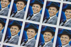 United States Postage Stamps. Frank Sinatra issued USPS postage stamps Stock Images