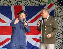 Frank sinatra and warden braithwaite. Photo of tony martin paying tribute to frank sinatra with warden braithwaite at herne village 1940 event on 12th june 2016 Stock Image